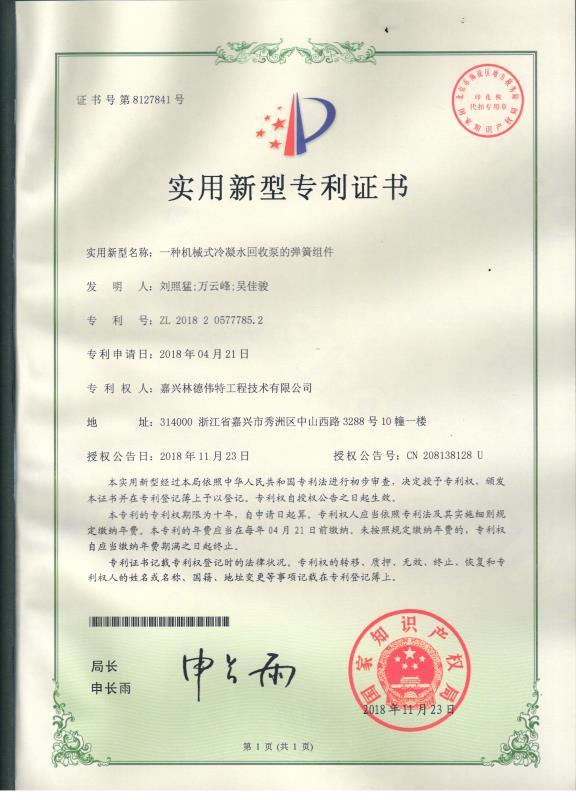 林德伟特专利证书