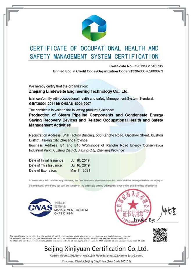林德伟特职业健康安全认证证书(英文)